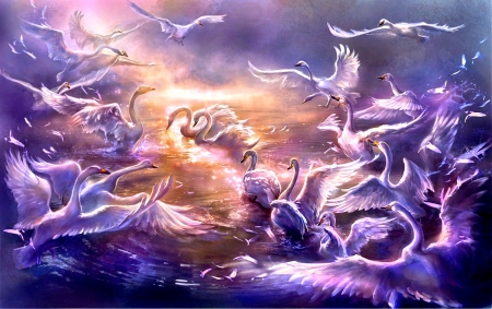 Swans Art Fantasy Abstract Background Wallpapers On
