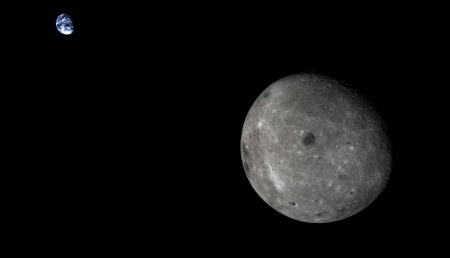 Moon and Earth from Chang'e 5-T1 - fun, cool, moon, earth, planet, space