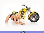 blonde with chopper