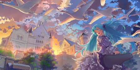 Hatsune Miku - vocaloid, miku, sunset, swan, happy, violin case, hatsune, flying, scenery