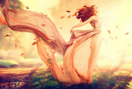Autumn Beauty ♥ - art, autumn, breeze, beautiful, woman, leaves, fantasy, girl, beauty