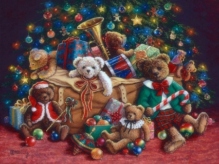 ★Christmas Teddy Bears★ - pretty, Christmas, ornaments, christmas tree, holidays, lovely, love four seasons, xmas and new year, cute, teddy bears, decorations, winter holidays, toys, gifts, celebrations