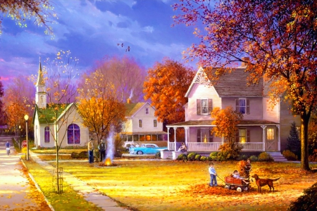 Autumn countryside - pretty, colorful, fall, art, autumn, houses, beautiful, church, trees, countryside, serenity, painting, peaceful, village, nature