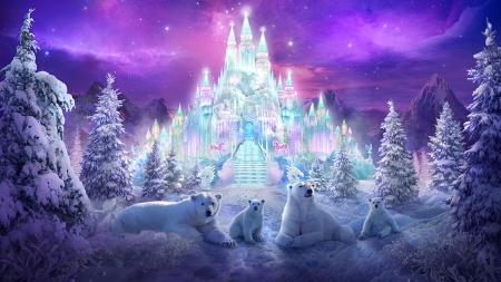 Ice Castle - fantasy, nature, bears, animals, winter