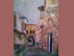 Old street in Damascus painted by Saad kilo