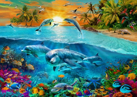 Dolphin Island - fantasy, dolphins, fish, nature, animals