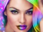 Beautiful girls, colorful