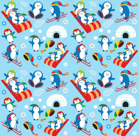 Winter fun - background, penquins, fun, play, winter