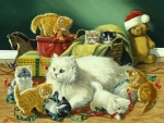 White Cats with Kittens