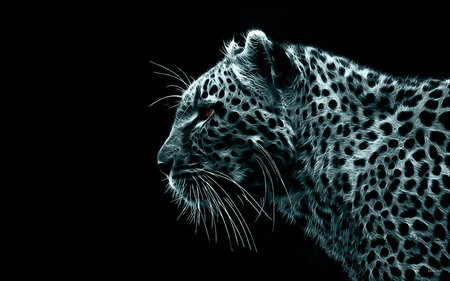 Snow Leopard - leopard, cg, black and white, animal, spots, glory, strength, beauty, digital-leopard, animals, carved, lovely, black, cat, abstract, snow leopard, masterpiece, 3d, cool, drawing, digital, wildlife, colours, virtual, cats, white, big cats