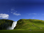 Water Falls In Grass Land