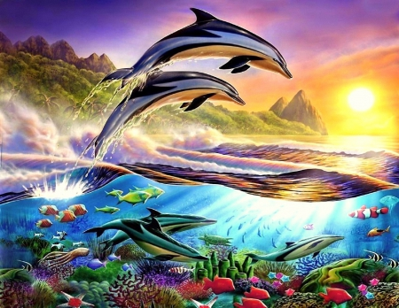 Dolphins in Caribbean - underwater, sea life, fish, ocean, painting, sunset, artwork