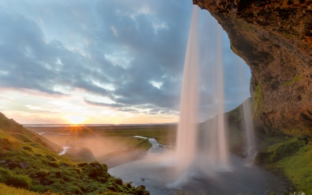Magnificent Waterfall - nature, river, sun, waterfalls