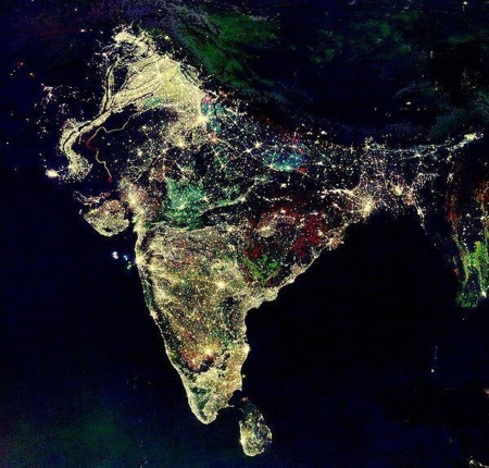 India at night from nasa - india, beautiful, space, night