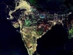 India at night from nasa