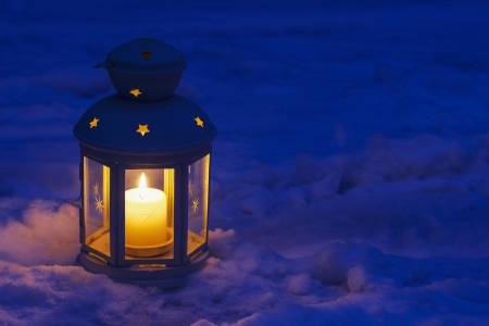 Silent Night - candle, cozy, glow, lantern, snow, bright, light