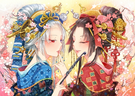 Kuniyoiyume - pretty, dress, hd, cg, beautiful, make-up, floral, geisha, sweet, blossom, nice, japan, anime, yukata, beauty, anime girl, gorgeous, female, lovely, japanese, brown hair, kimono, make up, girl, makeup, oriental, flower, silver hair, angelic