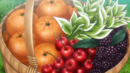 Fruit Basket - red, pretty, item, object, orange, sweet, fruit, nice, yummy, anime, delicious, lovely, food, red cherry, oranges, basket, cherry