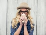 Glasses girl with coffee