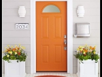 orange door to house