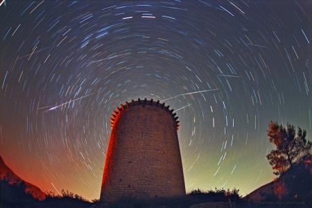 Leonids Above Torre de la Guaita - stars, fun, cool, galaxies, space