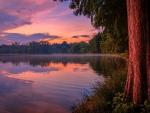 Sunset Reflection over Lake