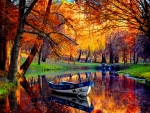 beautiful fall scene with small inlet