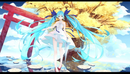 ~Welcome~ - vocaloid, dress, hatsune miku, umbrella, ribbons, bows, tree, ponytails, water, blue hair, anime, blue eyes, long hair