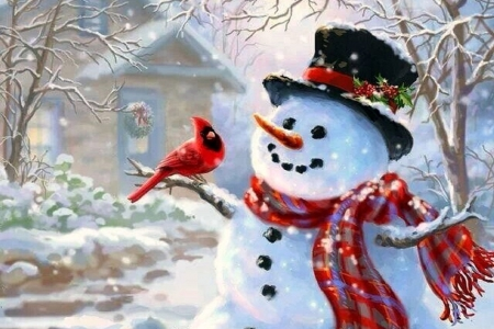 First snowman winter nature background wallpapers on - Winter cardinal background ...