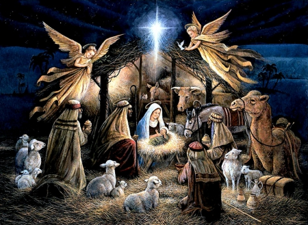 The Manger F5Cmp - donkey, Christmas, art, cow, holiday, December, illustration, artwork, angels, manger, sheep, painting, wide screen, occasion, camel, animals
