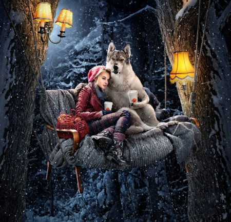 Cozy Friendship - lamp, cozy, buns, tree, girl, swing, friendship, funny, wolf, cofee