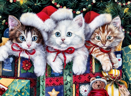 Meowy Christmas F5Cmp - Christmas, art, holiday, December, kittens, cat, pets, illustration, artwork, feline, painting, wide screen, occasion, scenery