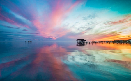 Amazing Ocean Sunset - oceans, nature, water, sunsets