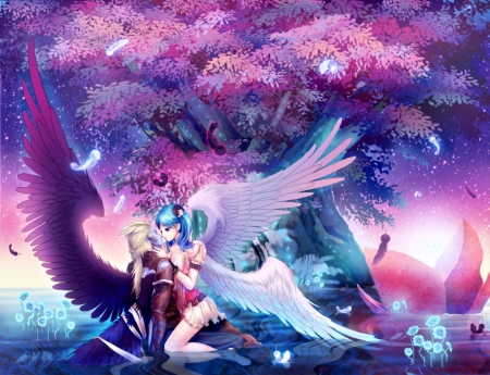 LOVE ANGELS - fantasy arts, angel from heaven, gigital fantasy, fantasy, wings, hugs, trees