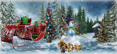 Rest Stop - sleigh, tree, holidays, christmas, snow, presents, snowman, winter