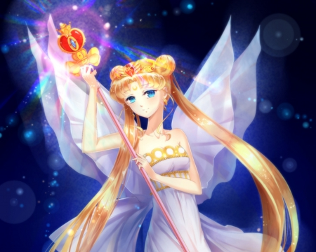 Serenity - pretty, dress, blond, sublime, sweet, magical girl, nice, twin tail, anime, royalty, sailor moon, anime girl, tiara, long hair, gorgeous, sailormoon, female, lovely, wand, twintail, gown, blonde, blonde hair, twintails, twin tails, princess serenity, girl, serenity, crown, angelic