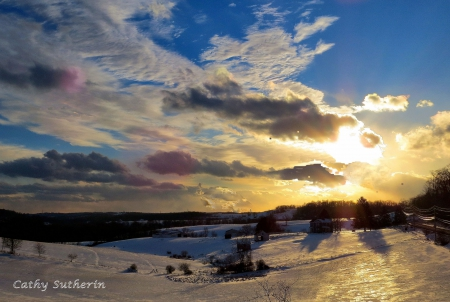 Sunset Over A Frosty Valley - sunset, country, sky, clouds, winter, valley, snow, nature, field
