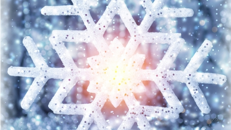 Seetrhough Snowflake - Christmas, shine, dazzle, winter, sparkle, snowflake, snow, pink, blue
