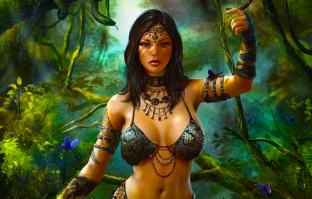 Jungle Beauty - art, fantasy, girl, cg, jungle, digital, beautiful, woman