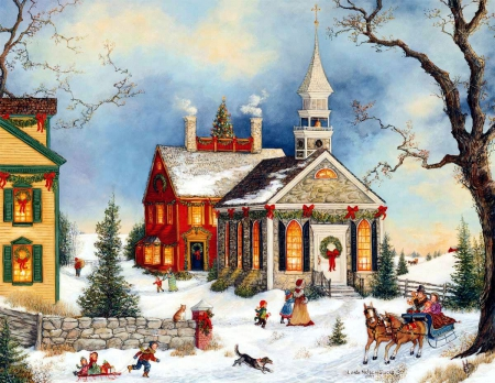 Old fashioned christmas other abstract background - Christmas village wallpaper widescreen ...