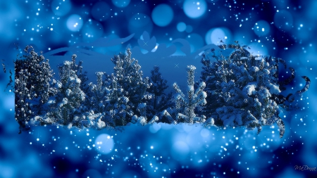 Framing Winter Forest - forest, woods, shine, collage, trees, winter, sparkle, bokeh, snow, blue