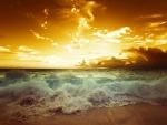 Sunset - sea - waves