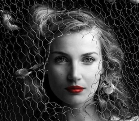 * - look, photography, black and white, face, woman, two colors, red lips