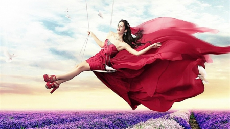 Your happiness is in YOU - red, girl, swing, lavender, happy, field