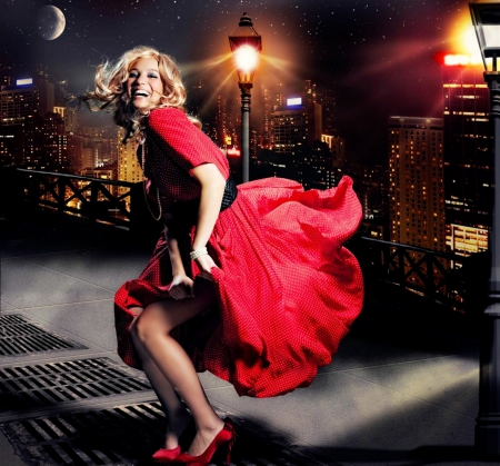 Dance the night away ! - red, city, girl, dance, happy, lights, night