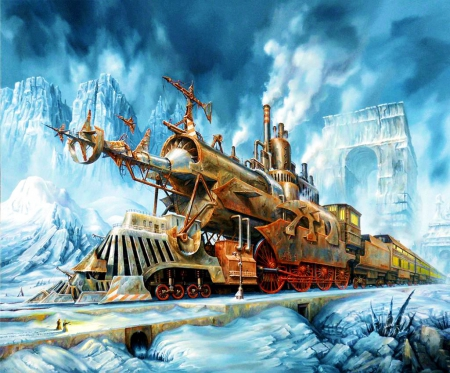 Fantasy Train - railroad, locomotive, snow, ice, artwork, winter