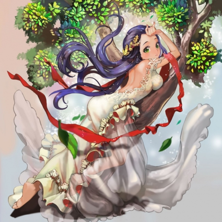 Honor type Daphne - pretty, dress, adore, adorable, sublime, branch, sweet, nice, anime, hot, anime girl, long hair, gorgeous, female, lovely, ribbon, gown, purple hair, amour, sexy, cute, tree, kawaii, girl, lady, branches, angelic, maiden