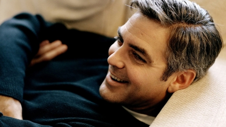 George Clooney - sweater, smiling, george, clooney, actor, lying down