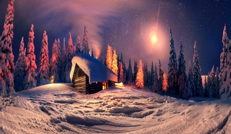 Winter Night - house, cottage, christmas, cabin, winter time, trees, sky, clouds, snowy, xmas, winter, merry christmas, snow, mountains, magic christmas, nature