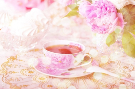 ♥ - flowers, ppink, soft, tea